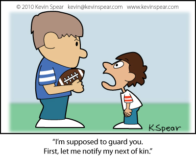 "Cartoon of two boy playing football. The smaller boy says, """"I'm supposed to"