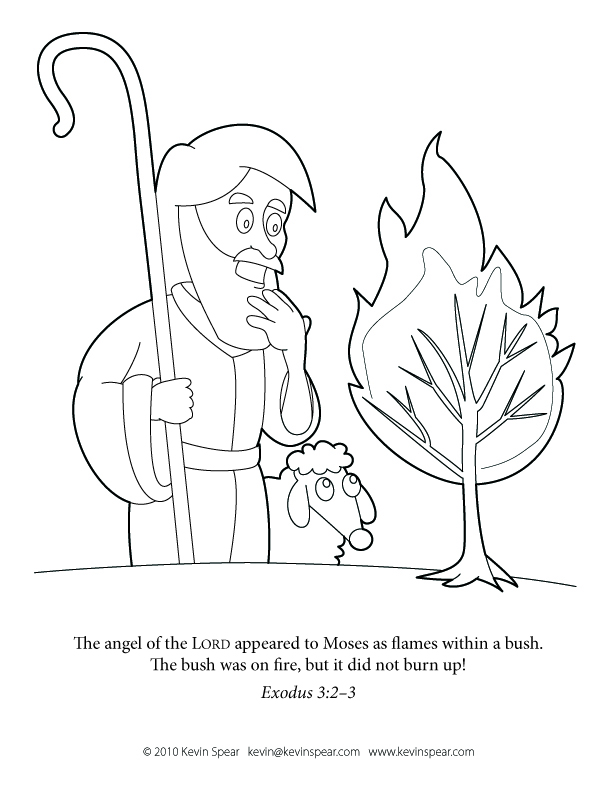 Moses BurningBush Coloring Page: Moses and the Burning Bush