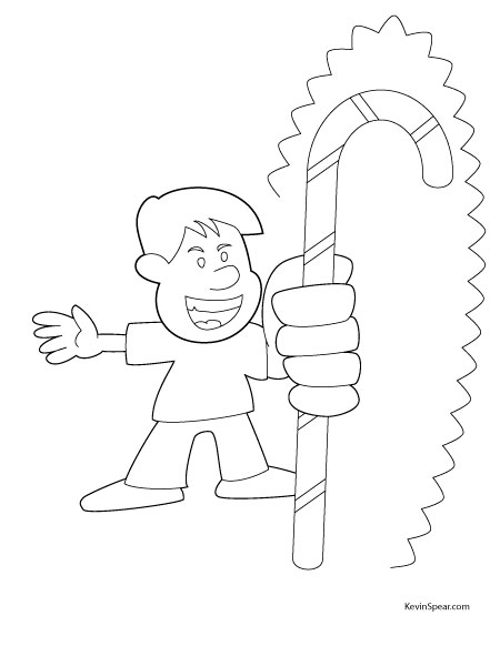 Spear 3899 Coloring Page: Candy Cane Boy
