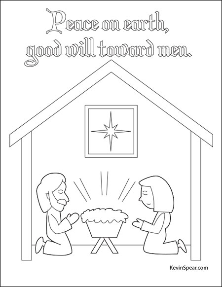 Spear Nativity01 Christmas Nativity Coloring Page