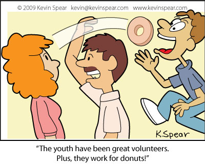 Volunteer donuts 3582 Cartoon: Volunteer Donuts