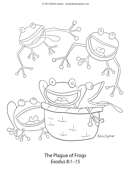 3936 Spear Frog Plague Coloring Plague of Frogs Coloring Page