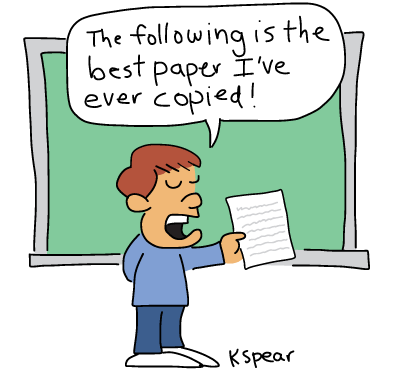 """sketch of a boy before a classroom. He says, """"The following is the best paper I've ever copied!"""""""